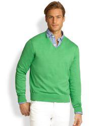 Polo Ralph Lauren - Green Cotton V-neck Sweater for Men - Lyst