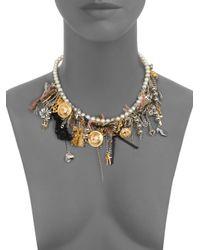 Saint Laurent - Metallic Charm Cluster Necklace - Lyst