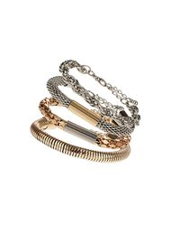 TOPSHOP - Metallic Mixed Chain Bracelet Pack - Lyst
