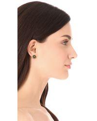 Tory Burch - Metallic Logo Enamel Stud Earrings - Lyst