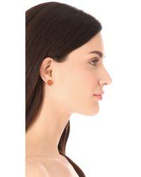 Tory Burch - Red Logo Enamel Stud Earrings - Lyst
