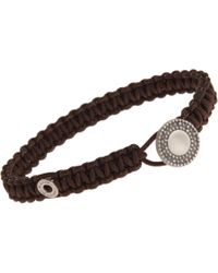 Zadeh | Brown Macrame Cord Bracelet with Silver Element for Men | Lyst