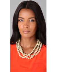 Fallon | Metallic Large 3 Strand Pearl Necklace | Lyst