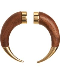 Givenchy Brown Wood Small Double Shark Tooth Earring