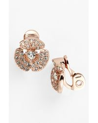 kate spade new york | Pink Disco Pansy Pavé Flower Clip Earrings | Lyst