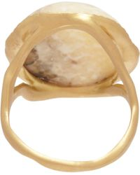 Monique Péan Metallic Fossilized Walrus Ivory Diamond Ring