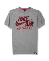 Nike Gray Air Force 1 Animalprint Logo T-Shirt for men