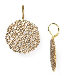 Roni Blanshay - Metallic Crystal Disc Dangle Earrings - Lyst