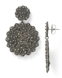 Roni Blanshay - Metallic Flower Crystal Drop Earrings - Lyst