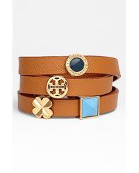 Tory Burch | Metallic Sliding Charms Leather Wrap Bracelet | Lyst