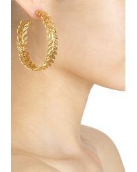 Aurelie Bidermann - Yellow Gold Lunada Bay Hoop Earrings - Lyst