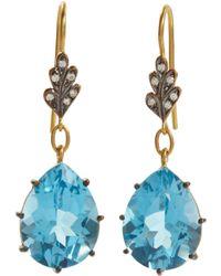 Cathy Waterman - Diamond Leaf Top Swiss Blue Topaz Earrings - Lyst
