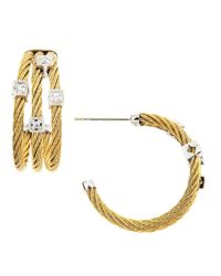 Charriol - Metallic Diamondstation Cablehoop Earrings - Lyst