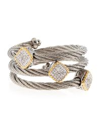 Charriol - Metallic Three Station Diamond Cable Ring  - Lyst
