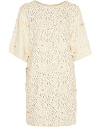 Chloé Natural Pearlembellished Lace Dress