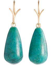 Dean Harris Blue Crysocolla Gold Drop Earrings