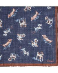 Drake's | Blue Dog Print Pocket Square for Men | Lyst