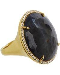 Eva Fehren | Metallic Diamond Opaque Sapphire Round Cocktail Ring | Lyst