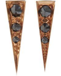 Eva Fehren | Brown Black Diamond Saber Stud Earrings | Lyst