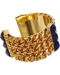 Fallon Metallic Lapis Triple Pyramid Cuff