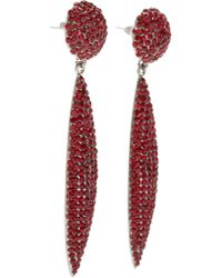 Fenton Red Crimson Crystal Spear Earrings