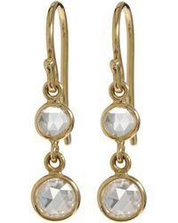 Finn | Metallic Diamond & Gold Double-Drop Earrings | Lyst