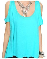 Forever 21 - Blue Highlow Cutout Shoulder Top - Lyst