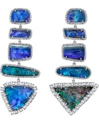 Irene Neuwirth | Blue Boulder Opal Diamond Mixed Shape Earrings | Lyst