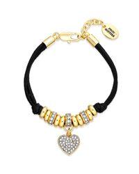 Juicy Couture - Metallic Goldtone Pave Heart Black Corded Bracelet - Lyst