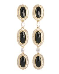 Kendra Scott | Black Long Baguette-trim 3-oval Drop Earrings | Lyst