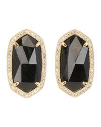 Kendra Scott | Pave-Trim Black Tourmaline Stud Earrings | Lyst