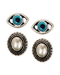 Lucky Brand - Metallic Silvertone Lapis Stud Earring Set - Lyst
