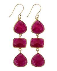 Marcia Moran - Purple Agate Threedrop Earrings Ruby - Lyst