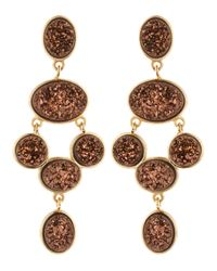 Marcia Moran Red Bronze Druzy Chandelier Earrings