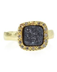 Marcia Moran Blue Pave Square Druzy Ring Black Size 8