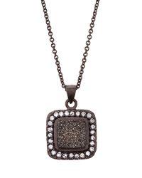 Marcia Moran - Gray Square Druzy Pendant Necklace Gunmetal - Lyst