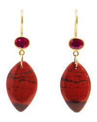 Marie-hélène De Taillac Metallic Ruby Jasper Apple Eve Earrings
