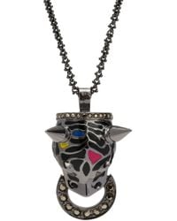 Mawi | Metallic Crystal Enamel Panther Pendant Necklace | Lyst