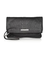 McQ Black Foldover Cutout Leather Clutch