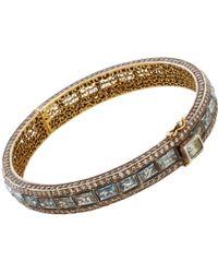 Munnu | Metallic Aquamarine Diamond Bangle | Lyst