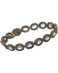 Munnu | Blue Diamond Aquamarine Indorussian Oval Link Bracelet | Lyst