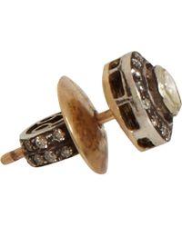 Munnu - Metallic Rose Round Cut Diamond Mini Stud Earrings - Lyst