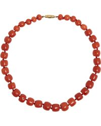 Olivia Collings | Red Coral Graduated Bead Necklace | Lyst