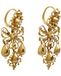 Olivia Collings - Yellow Diamond Filigree Bow Drop Earrings - Lyst