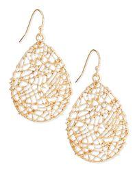 Panacea - Metallic Golden Openwork Drop Earrings - Lyst