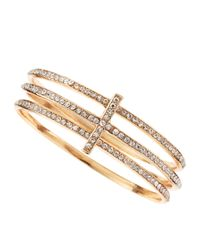 Panacea - Metallic Rhinestone Cross Bangle Set - Lyst