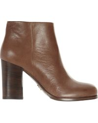 Prada - Brown Block Heel Ankle Boot - Lyst