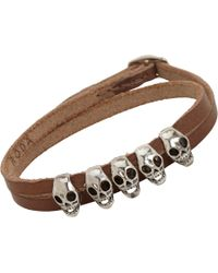 Roda - Brown Silver Skull Leather Wrap Bracelet - Lyst