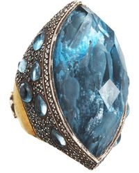 Sevan Biçakci - Yellow Dolphin Carved Blue Topaz Ring - Lyst