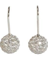 Shamballa Jewels | Metallic Pave Diamond White Gold Ball Drop Earrings | Lyst